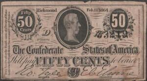 Original 1864 Confederate Fractional Currency~50 cent Note~4-1/2 x 2-3/8 inches