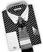 Daniel Ellissa Black/White Polka Dot Dress Shirt,Tie,Hanky Collar Bar DS3791P2