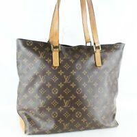 LOUIS VUITTON CABAS MEZZO Shoulder Tote Bag Purse Monogram M51151 Brown