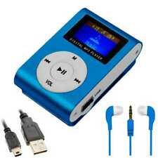 Reproductor Lector MP3 Radio Player Azul + Cascos Auriculares + Cable Mini USB