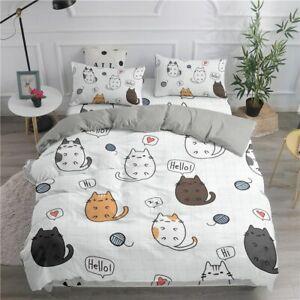 Cartoon Bedding Set Cute Cats Printed 3D Duvet Cover King Pillowcase Bedclothes