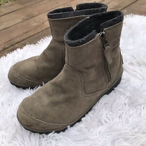 Sorel Winter Boots Suede Green Side Zipper Ankle Booties Low Size 7
