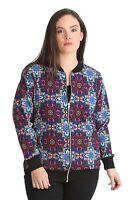 New Ladies Plus Size Bomber Jacket Womens Varsity Ribbed Paisley Print Nouvelle