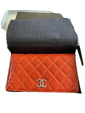 Authentic CHANEL Matelasse Bifold Long Wallet Patent Leather Orange