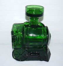 """BREVETTATO ITALY GREEN GLASS STEAM ENGINE DECANTER WITH STOPPER 7"""" X 5"""" X 3"""""""