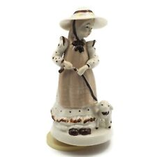 Vintage 1970 Porcelain Rotating Little Girl With Her Lamb Musical Figurine