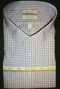 Roundtree Yorke Dress Shirt Size 18.5 - 34/35 BIG Purple Tattersall NWT (BT-39)
