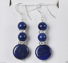 cadeaux de Noël,bleu lapis lazuli crochet d'argent boucle d'oreille