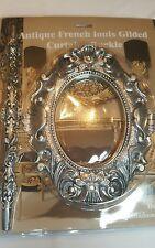 1 COPPIA (2 pezzi) antico francese Louis cortina d'argento fibbia / spilla