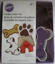 Wilton Cookie Cutter Cutters Metal Set Lot of 4 Dog Pet Bone Paw House Puppy