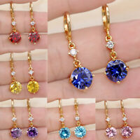 Fashion 18K Gold Filled Drop Earrings Round Women Gemstone Zircon Jewelry Gift