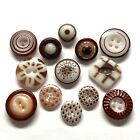 Antique Buttons ~ Fine Collection of Brown China inc Medallion Calico Stencil +