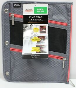 Mead Five Star Pen Pencil Case Zippered 3 Ring Binder Pouch Gray & Orange