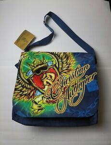 Christian Audigier Blue Graphic Messenger Bag