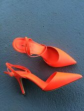 J Crew Elsie Ankle-Wrap Pump in Neon Flame Size 8.5 Style F1303 Retail $235.00