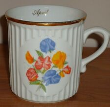 "April & Pansies Flower Mug w/gold trim 3.5"" Original Bohemia porcelain"