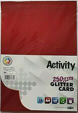 Quality A4 Activity Plain Red Glitter Cards 10 Sheets Craft Art Paper Cards