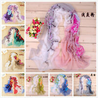 2018 New Style Women's Soft Wrap Ink Painting Flowers Chiffon Scarf 8 colours