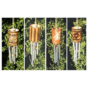 Bamboo Spiral Chimes with Metal Tubes Various Designs Flower Gecko Stripes