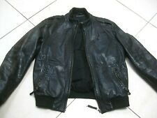 "Mens M&S AUTOGRAPH soft leather COAT JACKET size small 36 38"" black biker bomber"