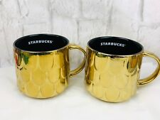 Starbucks 2019 Gold Mermaid Siren Scales Coffee Mug Cups Set Of 2 New