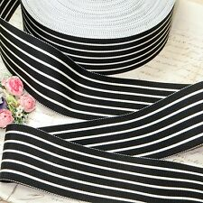 "2"" Vtg French Black Off-White Pinstripe Grosgrain Hat Ribbon Trim Cocarde Fedora"