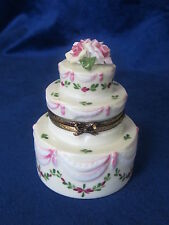 ROCHARD LIMOGES WEDDING CAKE HAND PAINTED FRANCE BNIB PORCELAIN HINGED F/S