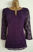 NEW BHS PROFILE 8 10 12 14 Purple Floral Lace Top Blouse Evening Wear Party