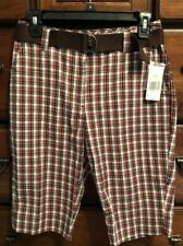 Kim Rogers Women's Flat Front Brown Red & White Plaid Shorts Size 6
