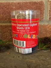 NEW Christmas Lights Happy Holidays Battery Operated Words LED Decor New Year