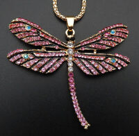 Betsey Johnson Pink Crystal Enamel Dragonfly Pendant Sweater Necklace
