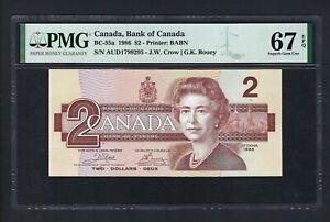 Canada 2 Dollars 1986 BC-55a Uncirculated Graded 67