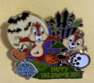 Disney Pin DVC Halloween 2014 Chip and Dale Limited Edition 2000 Pivot Glow Dark
