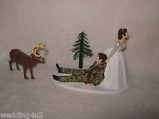Wedding Redneck Camo ~Bow & Arrow~ Deer Hunter Cake Topper ~Dark Hair on Both~