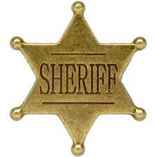 SMALL GOLD SIX 6 POINT BALL SHERIFF STAR  BADGE ~ WESTERN WILD WEST BADGE