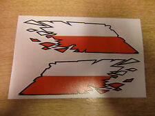 """Polish Flag """"ripped"""" style stickers - 300mm decals x2 LARGE"""