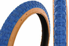 "PAIR 16x1.75"" MINI BURNER/BMX/KIDS BIKE TYRES BLUE COMPE 3 TREAD GUMWALL"