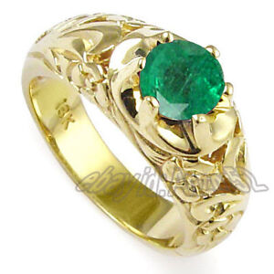 Men's Solid 18k Yellow Gold Natural Columbian Emerald ROCOCO design Ring
