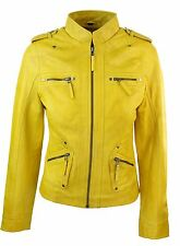 Ladies Women Genuine Real Leather Slim Fit Yellow Green Pink Biker Jacket