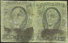 J) 1861 Mexico, Un Real, Hidalgo, Pair, District Jalapa, Mn