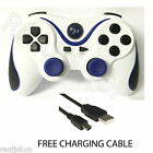 RECHARGEABLE HIGH QUALITY BLUETOOTH WIRELESS GAMEPAD CONTROLLER FOR PS3 WHITE/BL