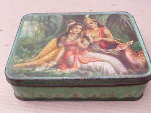VINTAGE TIN  EMPTY SWEET BOX LITHO RELIGIOUS Mythology SHAKUNTLA DUSHYANT