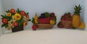 Vtg Dart Homco Kitchen Wall Hangings Strawberry Fruit Basket Flowers Choose
