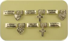 2 Hole Beads Serenity Prayer w/Heart+Cross Charms Clear Crystals Sliders QTY 11