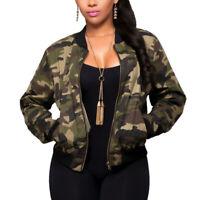 Womens Ladies Zip Up Long Sleeve Camouflage Army Biker Jacket Top Coat Size S-XL