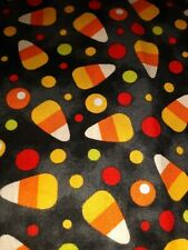 CANDY CORN & DOTS On Black Fabric Scrap Quilt Sew