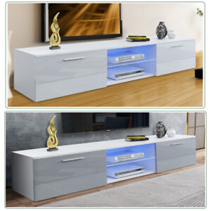 Modern TV Unit Cabinet Stand High Gloss LED Light Drawer Gray Door FurnitureHome