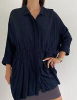 SEED HERITAGE Blue Black Striped Blouson Button Up 3/4 Sleeve Shirt Size AU 14