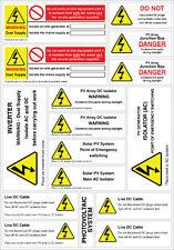 Energía Solar Fotovoltaica alerta de seguridad Etiquetas Calcomanías Ac Dc peligro Alto Voltaje paquete de pegatinas