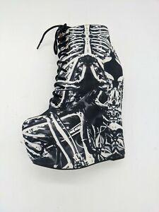 Black Milk X Jeffrey Campbell 'Damsel' Wedge Bootie in Bone Machine Size 6